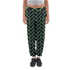 Brick2 Black Marble & Green Watercolor Women s Jogger Sweatpants