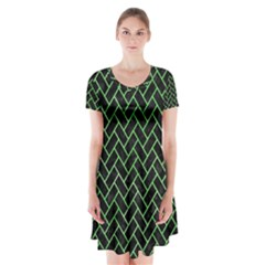 Brick2 Black Marble & Green Watercolor Short Sleeve V Neck Flare Dress