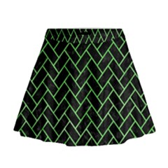 Brick2 Black Marble & Green Watercolor Mini Flare Skirt
