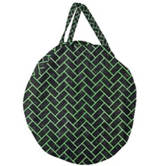 Brick2 Black Marble & Green Watercolor Giant Round Zipper Tote
