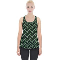 Brick2 Black Marble & Green Watercolor Piece Up Tank Top