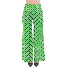 Brick2 Black Marble & Green Watercolor (r) Pants