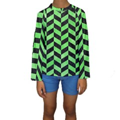 Chevron1 Black Marble & Green Watercolor Kids  Long Sleeve Swimwear