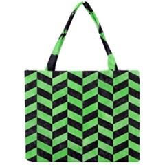 Chevron1 Black Marble & Green Watercolor Mini Tote Bag