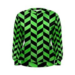 Chevron1 Black Marble & Green Watercolor Women s Sweatshirt