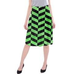 Chevron1 Black Marble & Green Watercolor Midi Beach Skirt