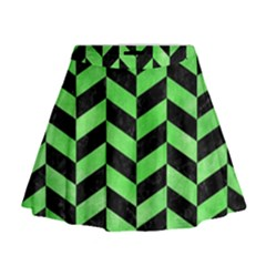 Chevron1 Black Marble & Green Watercolor Mini Flare Skirt