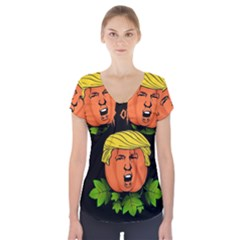 Trump Or Treat  Short Sleeve Front Detail Top