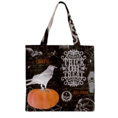 Vintage Halloween Zipper Grocery Tote Bag