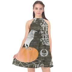 Vintage Halloween Halter Neckline Chiffon Dress