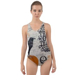 Vintage Halloween Cut Out Back One Piece Swimsuit
