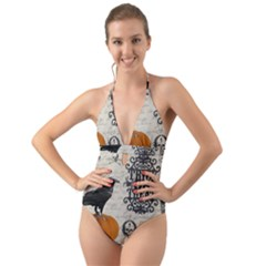 Vintage Halloween Halter Cut Out One Piece Swimsuit