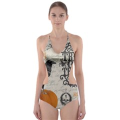 Vintage Halloween Cut Out One Piece Swimsuit