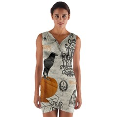 Vintage Halloween Wrap Front Bodycon Dress