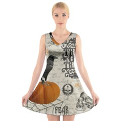 Vintage Halloween V Neck Sleeveless Skater Dress