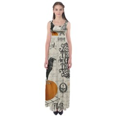 Vintage Halloween Empire Waist Maxi Dress