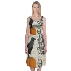 Vintage Halloween Midi Sleeveless Dress