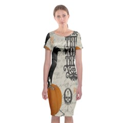 Vintage Halloween Classic Short Sleeve Midi Dress