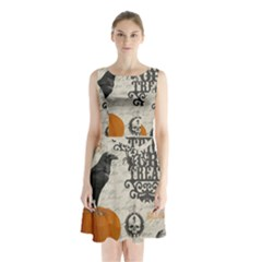 Vintage Halloween Sleeveless Waist Tie Chiffon Dress