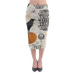Vintage Halloween Midi Pencil Skirt