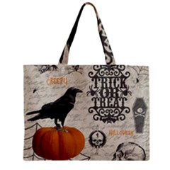 Vintage Halloween Zipper Medium Tote Bag
