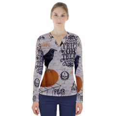 Vintage Halloween V Neck Long Sleeve Top