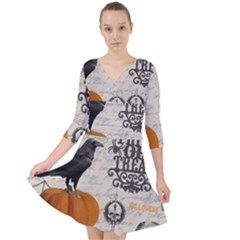 Vintage Halloween Quarter Sleeve Front Wrap Dress