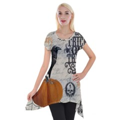 Vintage Halloween Short Sleeve Side Drop Tunic