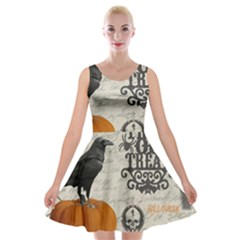 Vintage Halloween Velvet Skater Dress