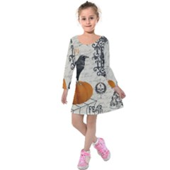 Vintage Halloween Kids  Long Sleeve Velvet Dress