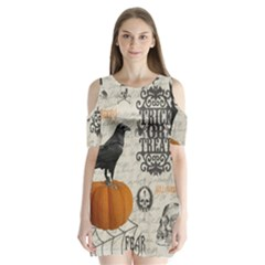 Vintage Halloween Shoulder Cutout Velvet One Piece