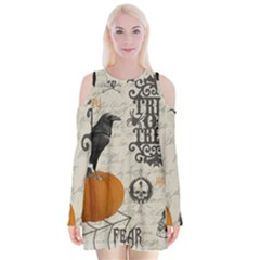 Vintage Halloween Velvet Long Sleeve Shoulder Cutout Dress