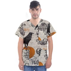 Vintage Halloween Men s V Neck Scrub Top
