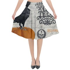 Vintage Halloween Flared Midi Skirt