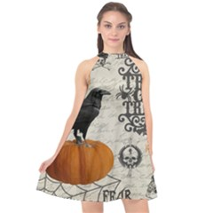Vintage Halloween Halter Neckline Chiffon Dress