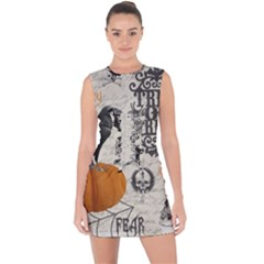 Vintage Halloween Lace Up Front Bodycon Dress