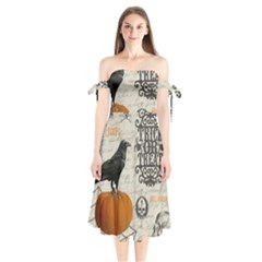 Vintage Halloween Shoulder Tie Bardot Midi Dress