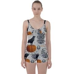 Vintage Halloween Tie Front Two Piece Tankini