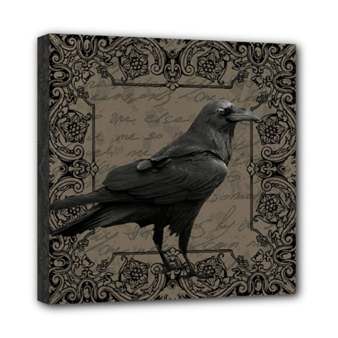 Vintage Halloween Raven Mini Canvas 8  X 8