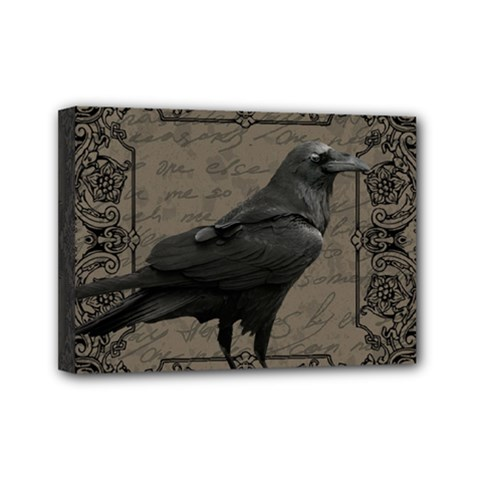 Vintage Halloween Raven Mini Canvas 7  X 5