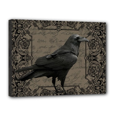 Vintage Halloween Raven Canvas 16  X 12