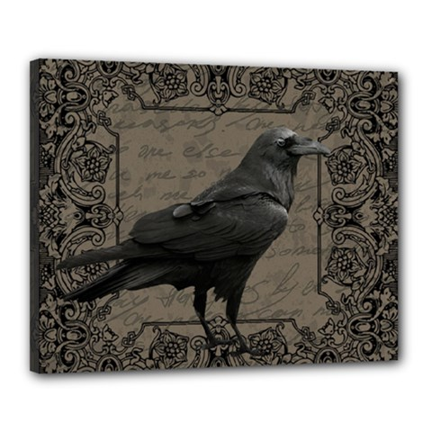 Vintage Halloween Raven Canvas 20  X 16