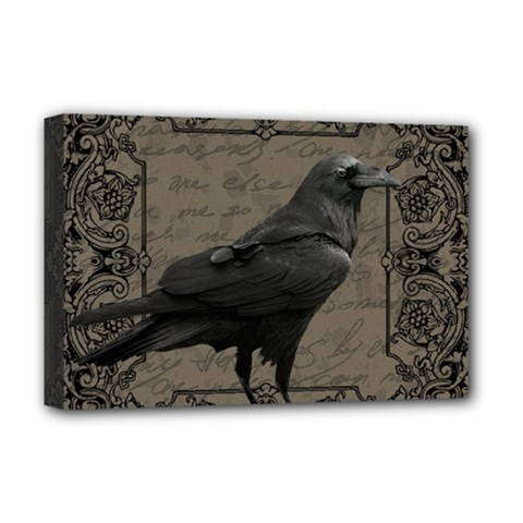 Vintage Halloween Raven Deluxe Canvas 18  X 12