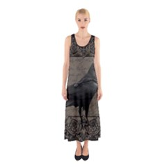 Vintage Halloween Raven Sleeveless Maxi Dress