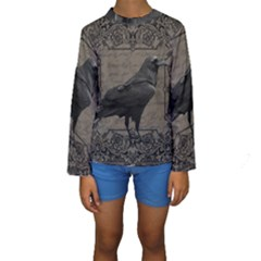 Vintage Halloween Raven Kids  Long Sleeve Swimwear