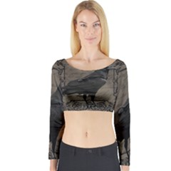 Vintage Halloween Raven Long Sleeve Crop Top