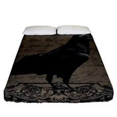 Vintage Halloween Raven Fitted Sheet (queen Size)