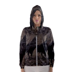 Vintage Halloween Raven Hooded Wind Breaker (women)