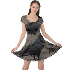 Vintage Halloween Raven Cap Sleeve Dress