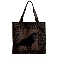 Vintage Halloween Raven Zipper Grocery Tote Bag